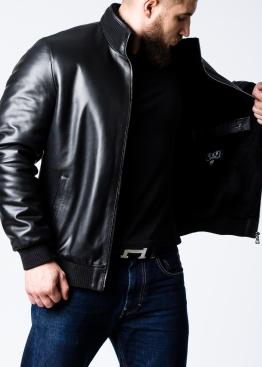 Зимняя кожаная мужская куртка с мехом под резинку TRL2BB