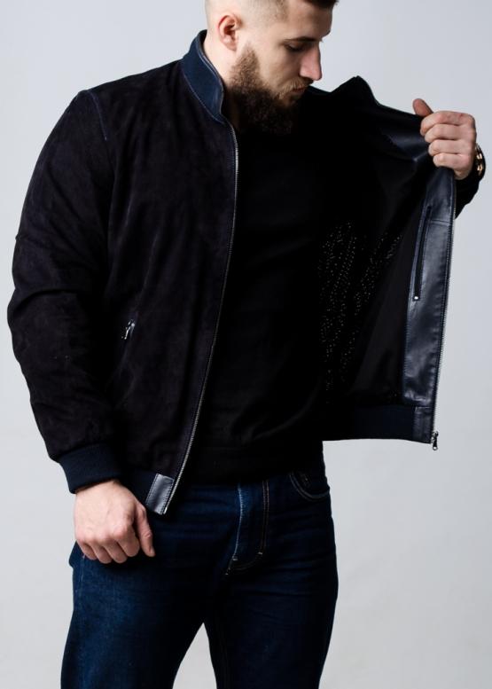 Весенняя замшевая перфорированная куртка мужская