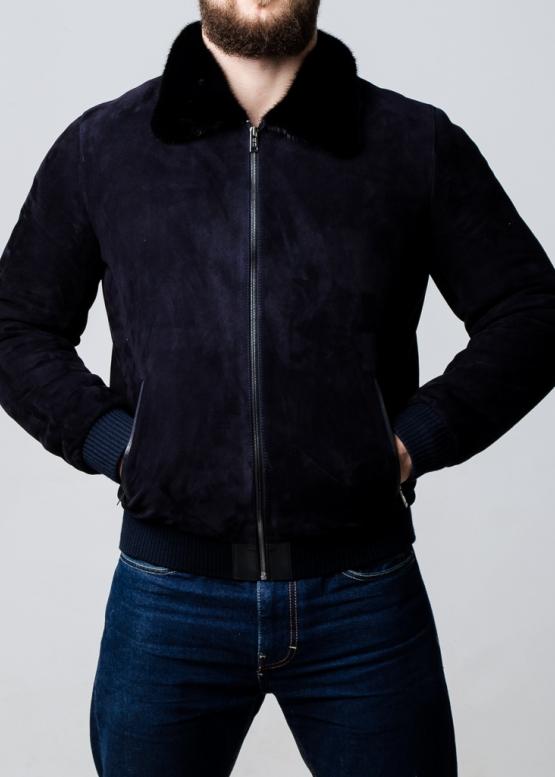 Зимняя замшевая куртка с норковым воротником