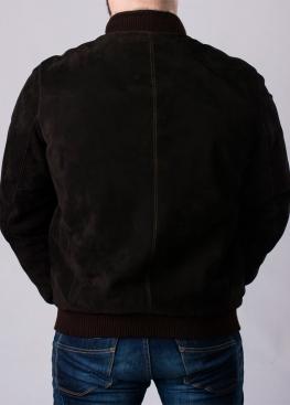 Зимняя замшевая куртка с мехом под резинку TRZ2KK